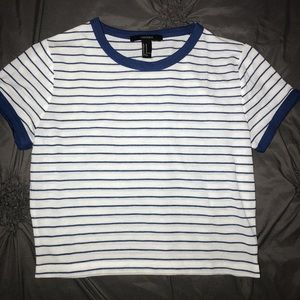 Forever 21 blue and white striped cropped shirt